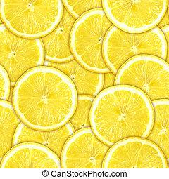 seamless, motívum, közül, sárga, citrom szelet