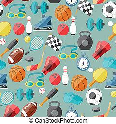 seamless, motívum, közül, sport, icons.