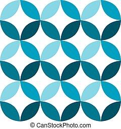 seamless, motívum, mód, mid-century, kék, motívum, cserép, ...