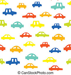 seamless, motívum, noha, autók, furcsa, tervezés, helyett, gyermek