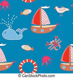 seamless, motívum, noha, csónakázik, és, tenger állat, helyett, gyerekek