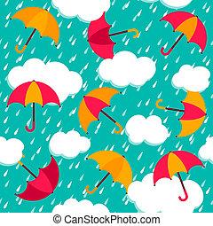 seamless, motívum, noha, színes, esernyők