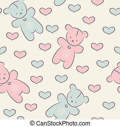 seamless, motívum, noha, teddy tart, és, hearts.