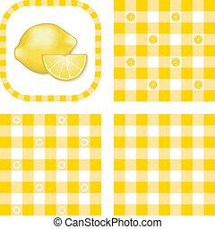 seamless, motieven, citroenen, gingham