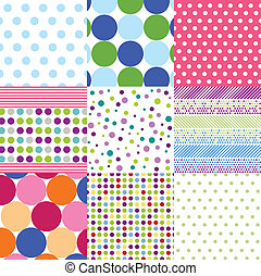 seamless, motieven, polka punt, set