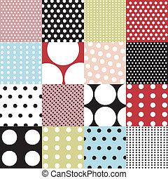 seamless, motifs, pois, ensemble