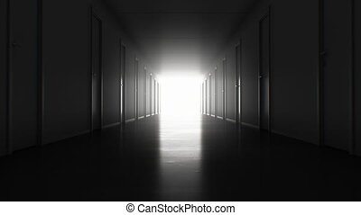 Seamless Motion Through the Dark Corridor with Many Closed Doors to the Bright White Exit. Looped 3d Animation Light in the End. Business and Technology Concept. 4k Ultra HD 3840x2160