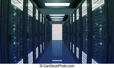 Seamless Motion Through the Server Racks with Opening Doors in Data Center. Beautiful Looped 3d Animation with Flickering Computer Lights. Big Data Cloud Technology Concept. 4k Ultra HD 3840x2160.