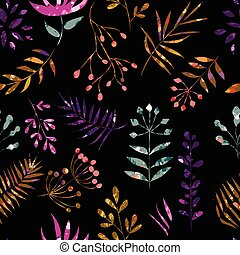 motley pattern of leaves on a black background - seamless ...