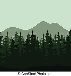 Seamless mountain landscape, forest silhouettes - Seamless...