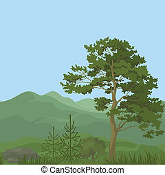 Seamless, mountain landscape with trees