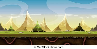 Seamless Mountains Landscape For Ga