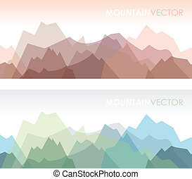 seamless mountains set - a set of two overlapping coloured...