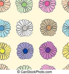 Seamless multi-colored camomiles