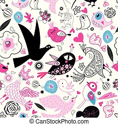 Seamless multi-colored pattern of enamored birds on a white...