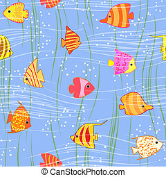 seamless multicolored tropical fish background