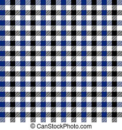 Seamless multicolour gingham pattern. Black and blue...