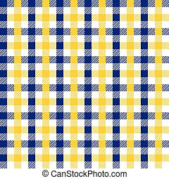 Seamless multicolour gingham pattern. Yellow and blue pattern.