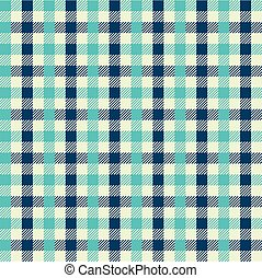 Seamless multicolour gingham pattern. Teal and blue pattern.