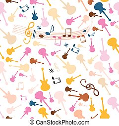 Seamless Music Background. Vector Stave Seamless Pattern with Retro Colorful Guitars. Cover Design Notes and Staff Seamless Illustration on White Background.