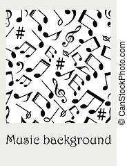Seamless music background with notes, treble clef, music symbols in monochrome design