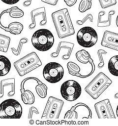 Seamless music media background - Doodle style music media ...