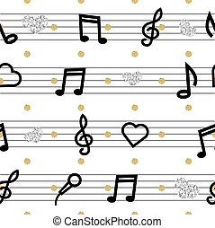 seamless music note with gold and silver glitter pattern background