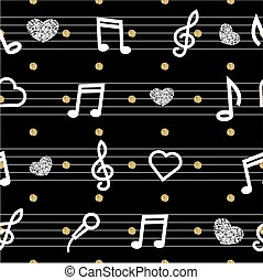 seamless music note with gold and silver glitter pattern on black background