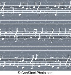 Seamless music pattern with staff and notes. High contrast...