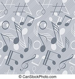 Seamless music pattern with staff and notes - Seamless music...