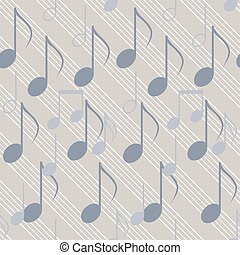 Seamless music pattern with staff and notes. Elegant print...