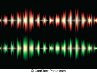 Seamless music wave pattern - Seamless orange and green...