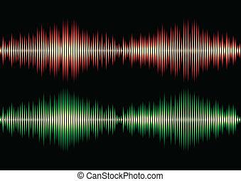 Seamless music wave pattern - Seamless orange and green...