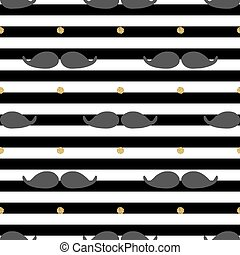 seamless mustache with gold dot glitter pattern on stripe background