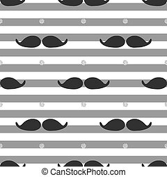 seamless mustache with silver dot glitter pattern on stripe background