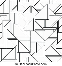 seamless, muster, dreieck, retro, monochrom