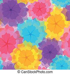 seamless, muster, -, farbenfreudige blumen