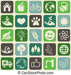 seamless, muster, mit, ökologie, zeichen & schilder, und, symbole