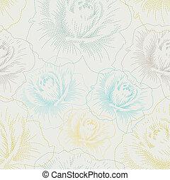 seamless, muster, mit, farbe, hand, zeichnung, rosen