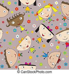 seamless, muster, mit, glücklich, kinder, und, blumen