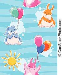 seamless, muster, mit, mit, lustiges, kaninchen, gemalt, bunte, fliegendes, luftballone, auf, a, hintergrund, von, himmelsgewölbe, und, clouds.