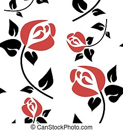 seamless, muster, mit, rote rosen