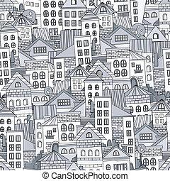seamless, muster, stadt, houses., vektor, abbildung