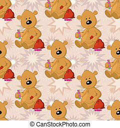 b ren spielzeuge seamless muster teddy goldenes spielzeug teddyb ren abstrakt. Black Bedroom Furniture Sets. Home Design Ideas