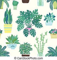 seamless, muster, von, dekorativ, houseplants, freigestellt, weiß, hintergrund., poppig, betriebe, wachsen, in, töpfe, oder, planters., schöne , natürlich, daheim, dekorationen, weiß, hintergrund.
