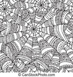 seamless, nät, spindel, mönster