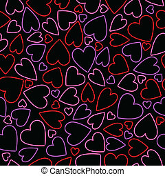 seamless, néon, coeur, fond
