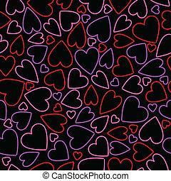 seamless, néon, coração, fundo