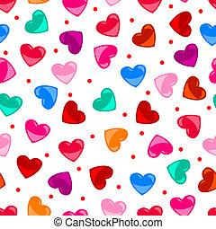 seamless, nöje, färgrik, hjärta gestalta, mönster, över,...