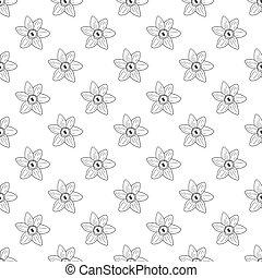 Seamless narcissus monochrome pattern.